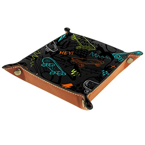 Quadratischer Teller aus Leder, für Damen und Mädchen, Urban-Stil, moderner Hintergrund mit Skateboards, Muttertags- oder Geburtstagsgeschenk