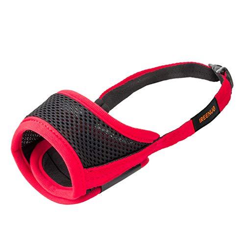 IREENUO Hunde Maulkorb, mit Verstellbarer Schlaufe Atmungsaktives Mesh Weiches Gewebe Vermeidert Beißen, Bellen und Essen (XS, Red)