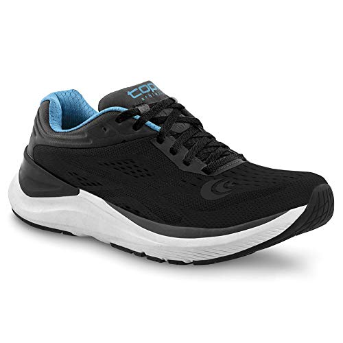 Topo Athletic Women s Ultrafly 3 Breathable Road Running Shoes  Black/Blue  Size: 9