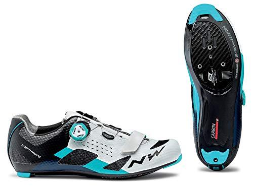 Northwave Storm Carbono Zapatos de Bicicleta de Carretera Blanco/Azul, Tamaño:gr. 47