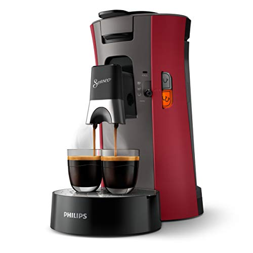 Philips Senseo Select CSA240/90 Kaffeepadmaschine (Kaffeestärkewahl Plus, Memo-Funktion, aus recyceltem Plastik), rot