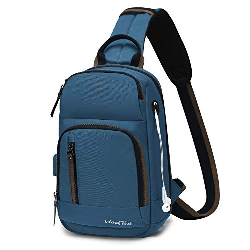 Wind Took Schultertasche Herren Taschen Brusttasche Sling Bag Crossbody Rucksack mit USB Ladeanschluss Kopfhörer Loch für Reise Arbeit Sport Daypack, Königsblau