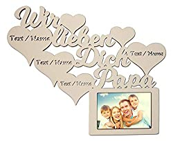 Namofactur Individuelle Papa Geschenke zum Geburtstag I Wir lieben Dich Bester Papa der Welt Bilderrahmen für 10 x 15 cm Foto Geschenkideen