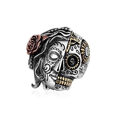 Aimsie S925 Silber Anillo para Los Hombres Anillo de Sello Gótico Punk 2.8 cm de Ancho Cráneo Talla 23,5