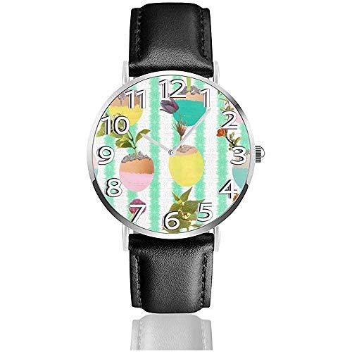 Uhr Armbanduhr Eier und Blumen Klassische Casual Quarzuhr Uhren für Männer Frauen