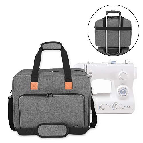 Luxja Nähmaschinentasche, Nähmaschine Tasche, Nähmaschinen Transporttasche für Nähmaschine und Extra Nähzubehör, für Alle gängigen Haushaltsnähmaschinen, Grau