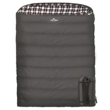 TETON Sports Fahrenheit Mammoth +20F Queen Size Sleeping Bag; Warm and Comfortable; Double Sleeping Bag Great for Family Camping; Compression Sack Included