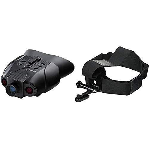 Bresser Digitales Nachtsichtgerät Binokular 3X mit digitaler Zoom-Funktion, zuschaltbarer Infratotbeleuchtung & Kopfhalterung für Action Cams & NV Binokular (3X & 1x NV) mit elastischen Bändern