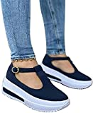 ZPZY Spring Retro Round Head Loafers for Women Low Upper Wedge Heel Shoes Buckle Design,Best Non Slip Shoes for Women Standing All Day (Blue, 36)