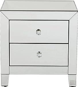 Kare Design Kommode Luxury 2 Schübe, Nachttisch mit 2 Schubladen, verspiegelte Konsole, Spiegeltisch, Luxus Nachttisch, (H/B/T) 50x49x41cm