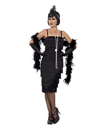 Smiffys 45502L, Damen Flapper Kostüm Langes Kleid Haarband und Handschuhe,schwarz,44-46(Herstellergröße:L)