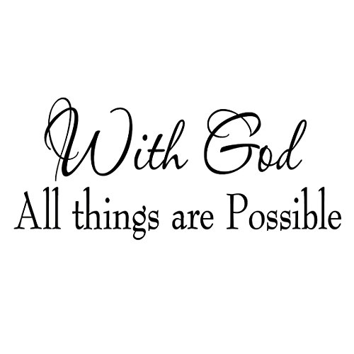 with God All Things are Possible Faith Wall Decals Religious Quotes Family Scripture Home Decor Christian Vinyl Wall Art