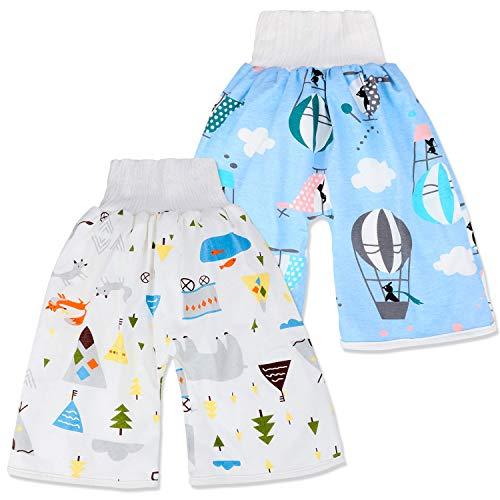 FLYISH Direct Pantalon à Couches bébé, Culotte d'apprentissage Lavable, Pantalon D'entraînement Bébé Barçon, Couches Lavables Réutilisables pour la Nuit - Lot de 2 - Bleu / Blanc- Taille 0-4 Ans