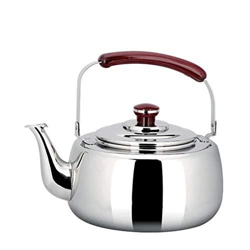 Tetera de acero inoxidable resistente al calor con mango ergonómico y silbador apto para estufas (color: plata, tamaño: 6L)