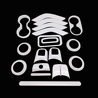 E-cowlboy 18 PCS Full Set Interior Decoration Trim Kit,Interior Door Handle Cover Trim,Air Conditioning Vent Cover Trim, Copilot Handle Cover Trim for Jeep Wrangler JK JKU 2011-2016 4-Door(White)