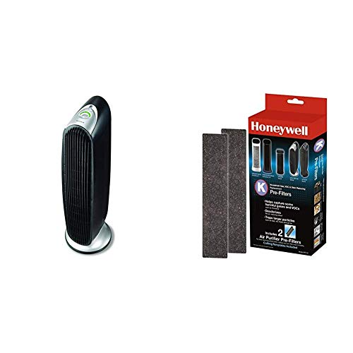 Honeywell Washable Filters, 1, Black with Honeywell HRF-K2 Household Odor & Gas Reducing Pre-filter, 2 Pack, Black
