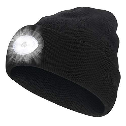 Jooheli Led Mütze Kappe mit Lichte, Strickmütze mit Licht LED Beanie Mütze Wiederaufladbare USB Laufmütze Winter Wärmer Cap mit Licht für Jogging, Gehen, Camping, Schnee schippen, Radfahren