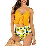 TUDUZ Tankinis Mujer Traje De Baño De Dos Piezas Almohadilla De Patchwork Bikini Bañadores De Baño (Amarillo.a, S)