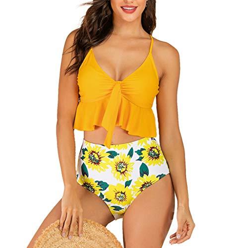 TUDUZ Tankinis Mujer Traje De Baño De Dos Piezas Almohadilla De Patchwork Bikini Bañadores De Baño