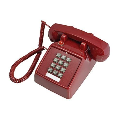 YUBIN Teléfono Teléfono Mecánico Retro Oficina Desktop Fijado Botón Teléfono Teléfono (Color: Rojo) (Color : Red)