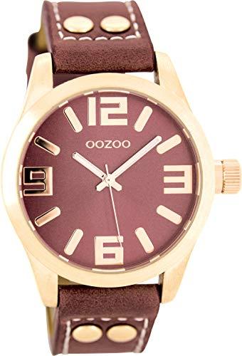Oozoo Damenuhr mit Lederband 41 MM Rose/Rot/Rot C8019