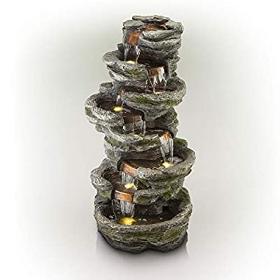 """Alpine Corporation 58"""" Tall Outdoor 8-Tier Rainforest Rock Water Fountain with LED Lights"""
