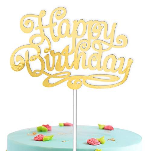 Vsd-vk Happy Birthday cake topper verjaardag taartdecoratie goud taartdecoratie cake topper taartdecoratie verjaardag taart decoratie