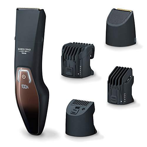 Beurer HR 4000 Bartstyler, Barttrimmer mit 4 Aufsätzen zum Trimmen und Rasieren, mit Edelstahlklinge, Li-Ion-Akku und Schnellladefunktion