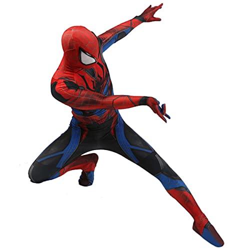 NVHAIM Niños para Adultos Masquerade Spiderman Mono, Cine y Televisión Spiderman Cosplay Costume Halloween Onesies Onesies Detachable Headgear,Blue-Men XXXL