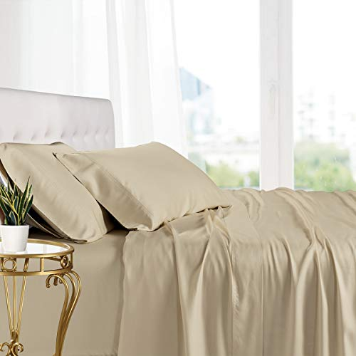 Royal Tradition Exquisitely Lavish Body Temperature-Regulated Bedding, 100% Viscose from Bamboo, 300 Thread Count, 4 Piece King Size Deep Pocket Silky Soft Sheet Set, Linen