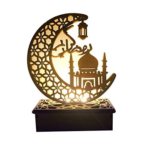 su-luoyu Mubarak Ramadan LED Holz DIY Lampe, Holz Mondform Nachtlicht Muslim Islam Eid Festival Dekoratives Licht Für Zuhause, Büro Und Palast, 15x6x19cm