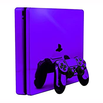 Purple Chrome Mirror Vinyl Decal Faceplate Mod Skin Kit for Sony PlayStation 4 Slim  PS4S  Console by System Skins