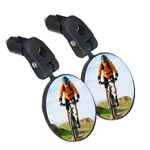 SGODDE Bike Mirror, 2pcs Bicycle Cycling Rear View Mirrors, Safe Rearview Mirror, Adjustable Handlebar Mounted Plastic Convex Mirror for Mountain Road Bike Bicycle