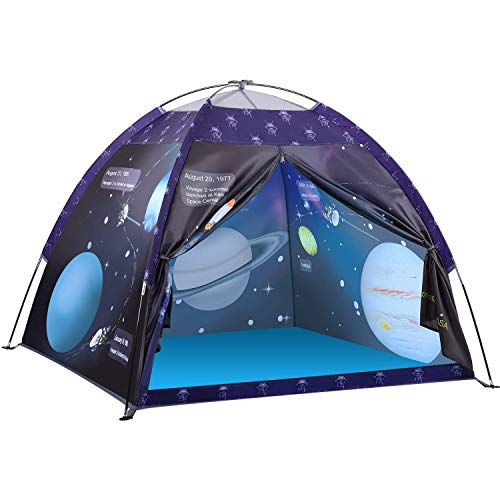 Space Kids Play Tent, Exqline Children Galaxy Dome Playhouse Portable Astronaut Space Theme Play Tent for Boys Girls Indoor and Outdoor Playing and Camping Tent, Gift for Kids, 120x120x110 cm