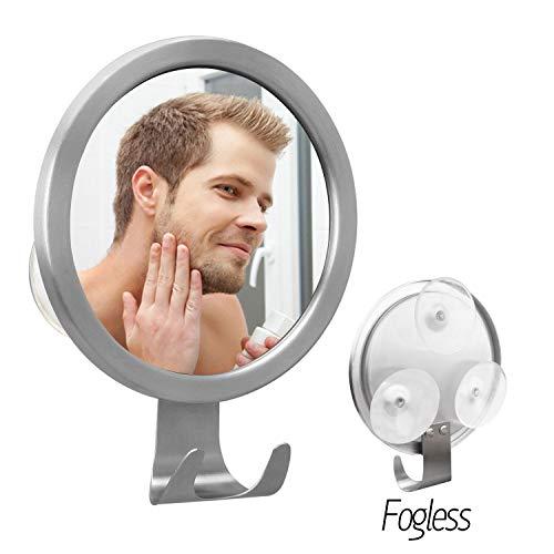 Elegear Spiegel Duschspiegel mit Saugnäpfe Antibeschlag Badspiegel Beschlagfreier Rasierspiegel mit Selbstklebend Wandhaken -Silber