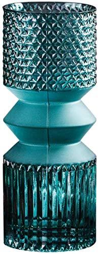 Home Decoration Blue In reliëf glazen vaas, Bloemschikken Device, for thuis en bruiloft decoratie, zonder bloemen (Color : Large)