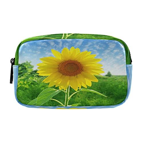 ECHOLI Estuche para lápices de primavera Sunshine Sunflower grande bolsa de cosméticos organizador de maquillaje con cremallera para adultos, mujeres, adolescentes, niñas y escuelas