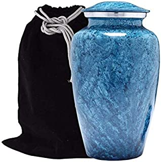 Hind Handicrafts Sky Blue Marble Finish Cremation Urn for Human Ashes - Adult Funeral Urn Handcrafted - Large Burial Urn for Human Ashes (7.5
