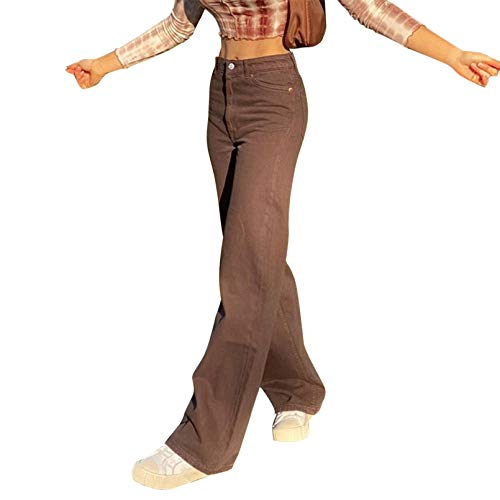 Frauen Y2K Straight Leg Hose mit hohen Taille Denim Jeans Loose Baggy Flare Bleistift-Jeans Vintage-E-Girl Street Hosen (Brown, S)