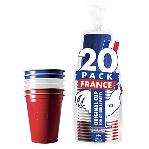 Pack de x20 Original France Supporter Cups Officiels | Gobelets 53cl Tricolores | Beer Pong | Qualité Premium | Gobelets en Plastique Réutilisables | Lavables Main et Lave-Vaisselle | OriginalCup®