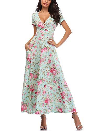 HUHOT 2XL A Line Dresses,Women Summer Short Sleeves V Neck Unique Cross Wrap Floral Print Long Dresses 19020-2 XX-Large