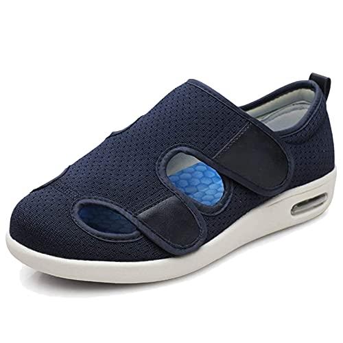 BIAJIAZHUA Zapatos diabéticos, con espuma viscoelástica cerrada, transpirables, con cierre de velcro, zapatillas de Edema ajustables de ancho unisex, lavables (color: azul, tamaño: 6 UK)
