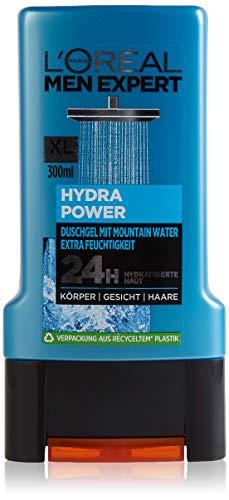 L'Oréal Men Expert Hydra Power Mountain Water Duschgel, spendet Feuchtigkeit versorgt und pflegt regeneriert die Haut (Gesicht, Körper und Haare) (1 x 300 ml)