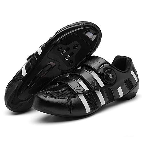 Namenlos Rennradschuhe für Herren und Damen, rutschfeste, Abriebfeste Fahrrad-Turnschuhe mit Sohle aus Nylon MTB-Trainer Triathlon Athletic Racing Shoes,Schwarz,47