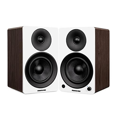 """Fluance Ai41 Powered 2-Way 2.0 Stereo Bookshelf Speakers with 5"""" Drivers, 90W Amplifier for Turntable, TV, PC and Bluetooth 5 Wireless Music Streaming with RCA, Optical & Subwoofer Out (White Walnut)"""