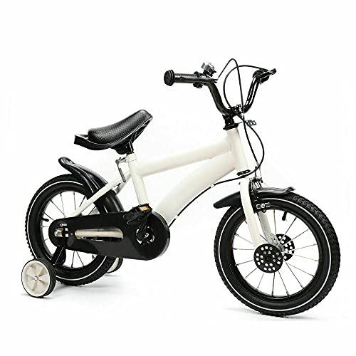 Bici per bambini da 14 pollici, bicicletta da ragazzo, per bambini, alla moda, con ruote di supporto, colore bianco, regalo per bambini