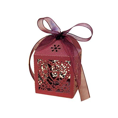 10pcs/set Boîtes à bonbons ciselés de cœur d'amour pour la marriage Rouge
