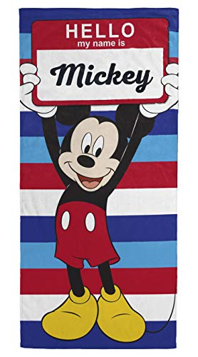 Jay Franco Disney Mickey Mouse My Name is Mickey Kids Bath/Pool/Beach Towel - Super Soft & Absorbent Fade Resistant Cotton Towel, Measures 28 inch x 58 inch (Official Disney Product)