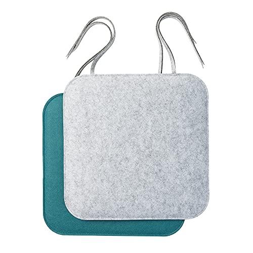 luxdag Sitzkissen mit Schleifenband aus Filz 2er Set (Farbe & Größe wählbar) - Sitzauflage zweifarbig zum Anbinden für Stuhl, Bank & Hocker - Sitzpolster mit Schaumstoffkern für Haus & Garten