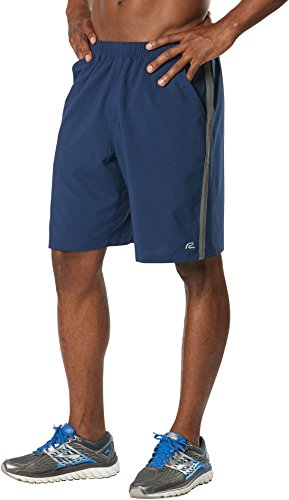 R-Gear Men's 9-Inch Shorts with Pockets and Brief Liner for Exercise or Lounge | Long Gone, Midnight Blue/Steel,L